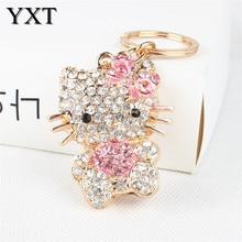 Lovely Pink Sweat Heart Butterfly Cat Cute Crystal Charm Purse Handbag Car Key Keyring Keychain Party Wedding Birthday Gift