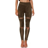 Suede Leather Pants New Spring Summer High Waist Lace Up Slim Stretch Skinny Bodycon Pencil Leggings