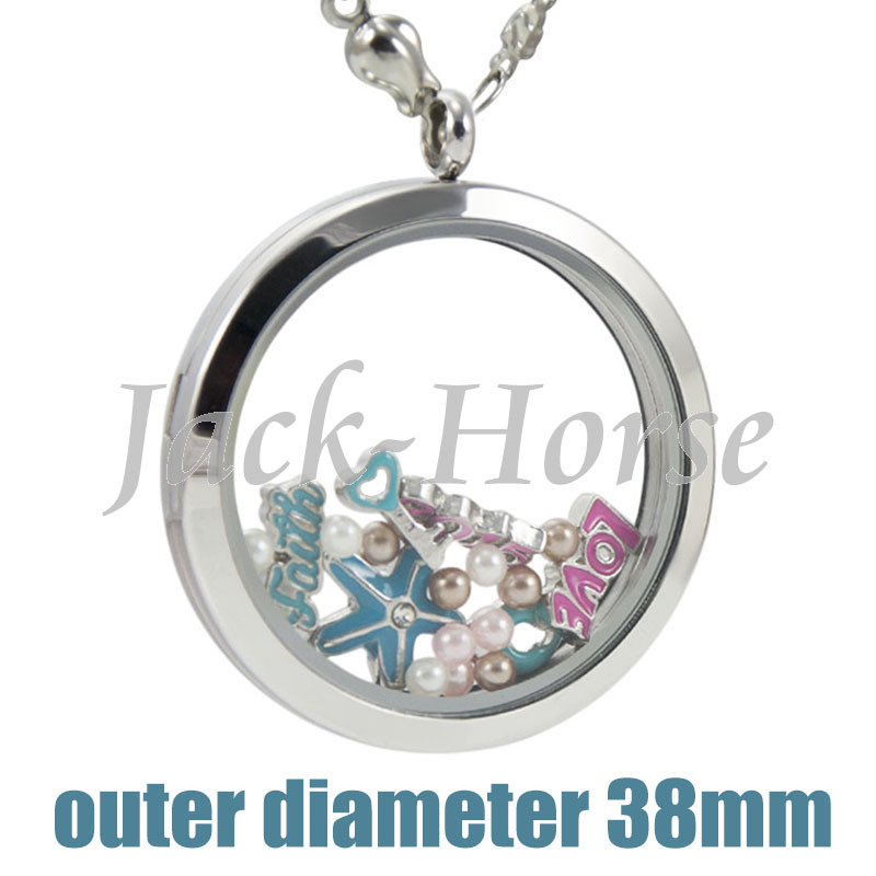 38mm stainless steel floating locket! new big magnetic floating living locket for girl