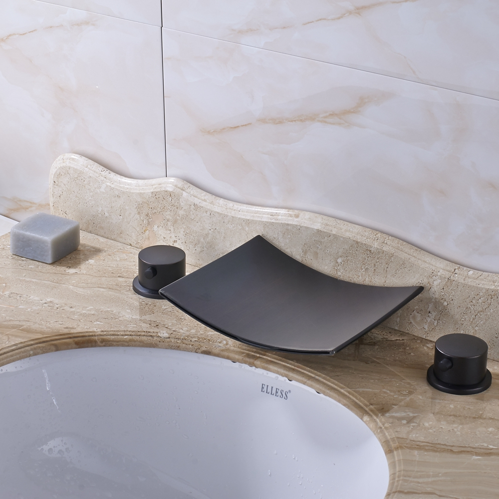 ФОТО Big Square Waterfall Dual Handles Bathroom Sink Faucet Mixer Tap Oil Rubbed Bronze Finish