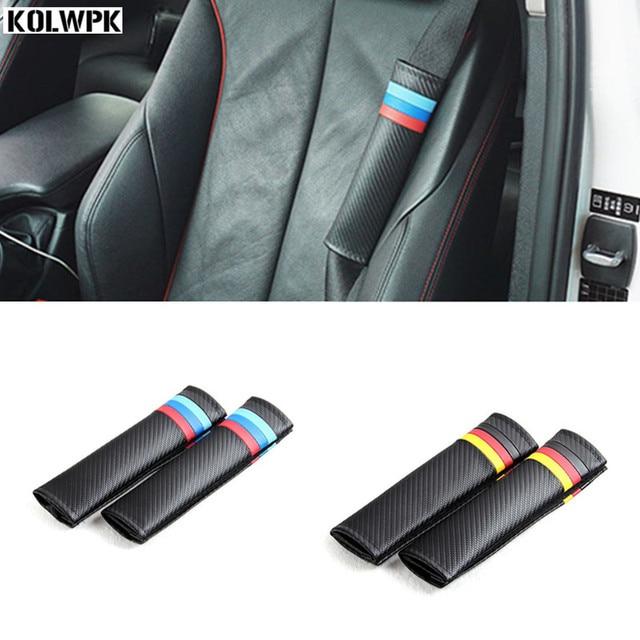 2X Car Seat Belts Covers Padding German Flag Carbon Fiber Leather Belt Shoulder Sleeve For VW