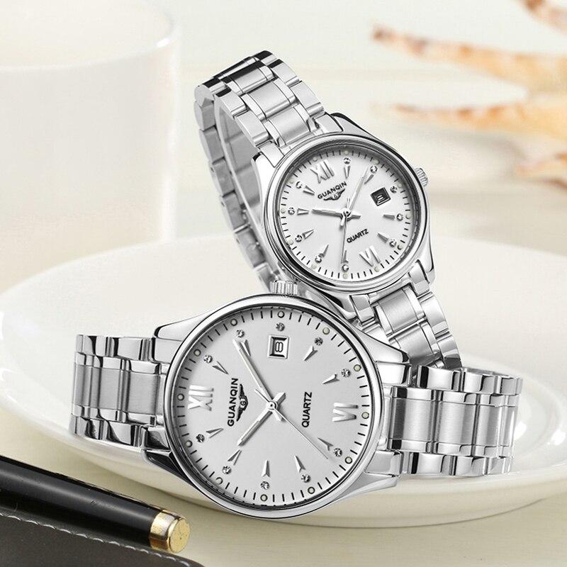 GUANQIN カップルの腕時計セット男性女性のファッション愛好家日付腕時計高級ゴールドクォーツ時計女性時計レディース腕時計  グループ上の 腕時計 からの クォーツ時計 の中 2