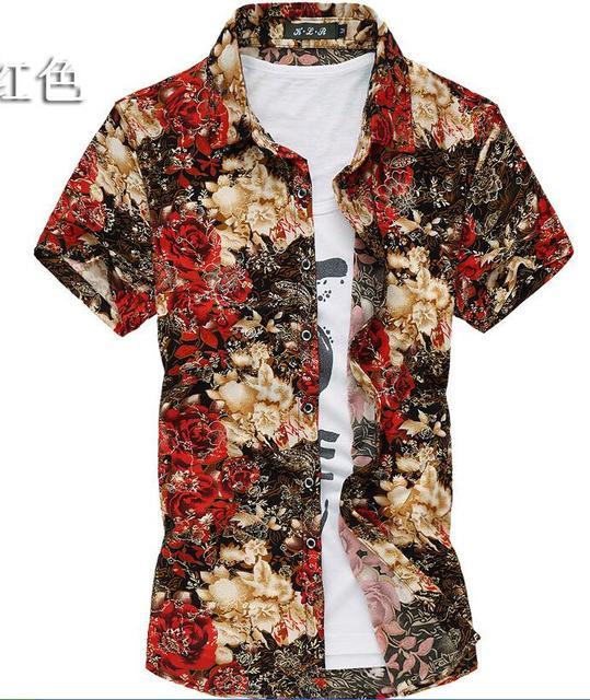 Camisa de Boa qualidade de ouro print floral M-7XL homens da camisa de manga curta dos homens casuais camisa de algodão de seda 2015 verão camisas hombre