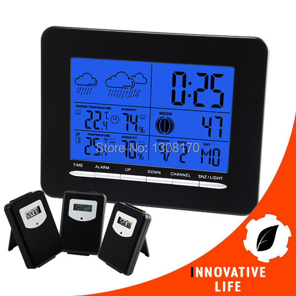 Indoor/Outdoor Wireless Weather Station Temperature C / F RCC DCF Radio Controlled Clock Date Calendar  with 3 sensors