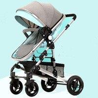Роскошный Высокий пейзаж Новорожденный ребенок карета бренд детская коляска спальная корзина Детские Багги большие колеса зонтик автомоб