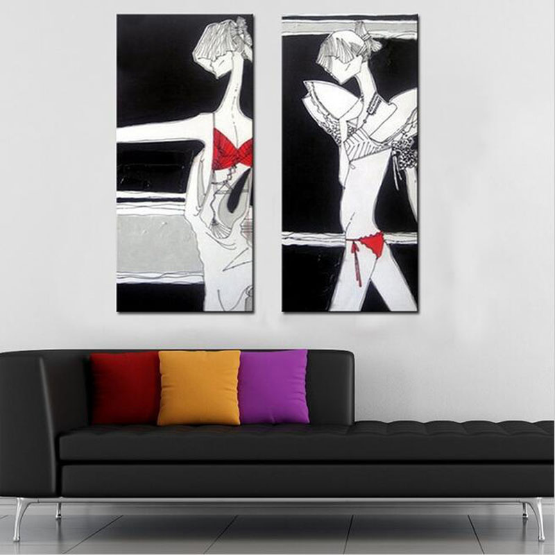 Hand Painted Sexy Girl Oil Painting Abstract Figure Pictures on Canvas Unframed Art for Wall Decoration Stretched On Wooden in Painting Calligraphy from Home Garden