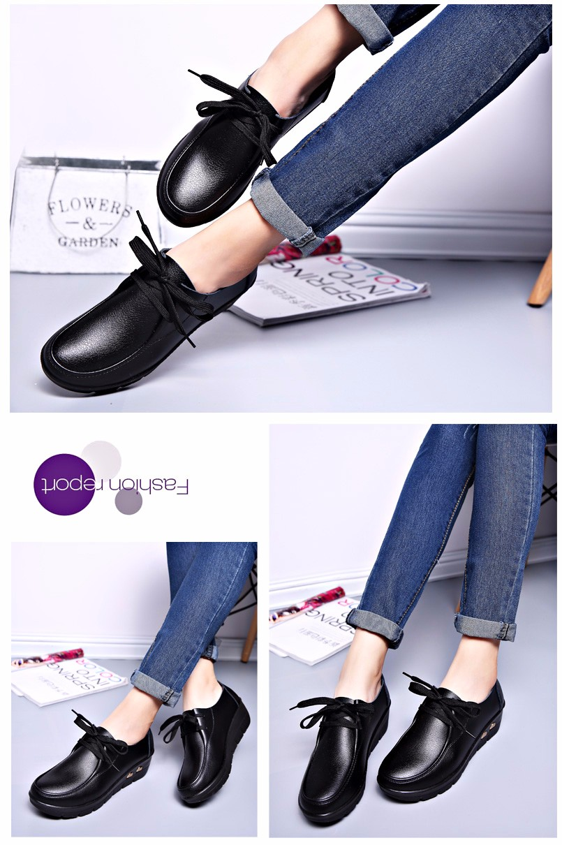 Women Oxfords Leather Shoes New Arrival Round Toe Lace Up Casual Women Flats Size 35-41 Flat Heels Platform Ladies Shoes NX27 (19)