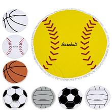 Football Basketball Volleyball Round Large Beach Towel Microfiber For S With Tel 150cm Diameter Soft Shawl