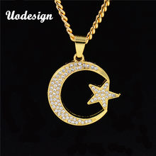 Uodesign Trendy Bling Crystal Gold Chain Necklace Link Chain Moon Star Pendant Necklace for Men Male Jewelry(China)