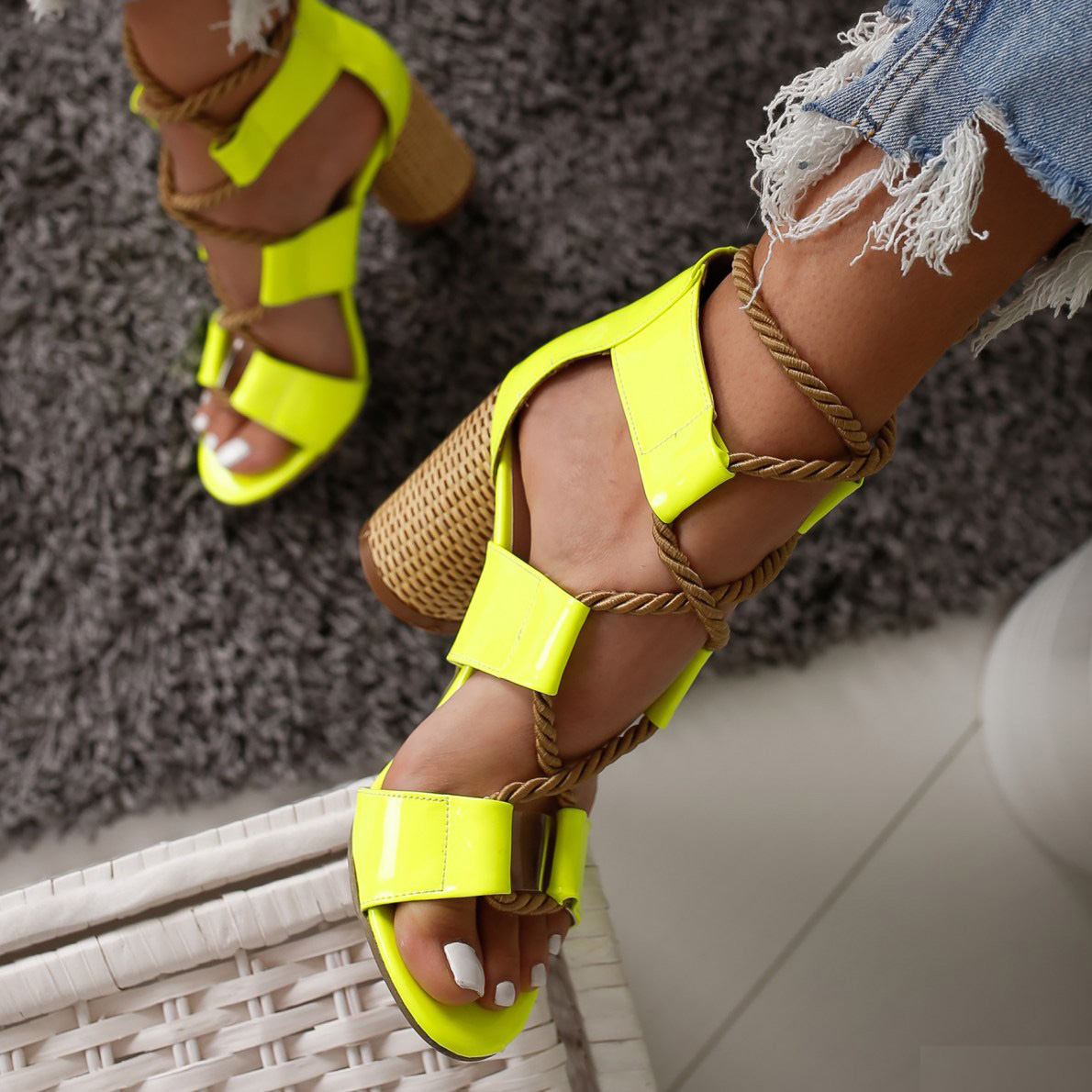 2019 Wedge Women Sandals High Heel Pointed Fish Mouth Fashion Sandals Squre Hemp Rope Lace Up Sandals Rope Lace-up Plus 35-432019 Wedge Women Sandals High Heel Pointed Fish Mouth Fashion Sandals Squre Hemp Rope Lace Up Sandals Rope Lace-up Plus 35-43