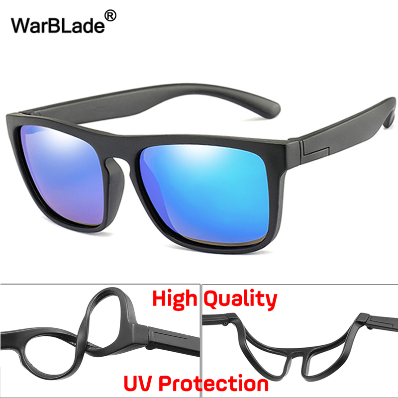 WarBlade 2019 New Kids Silica Soft Sunglasses Polarizing Square Boys Girls Brand Eyeglasses Infant UV400 Breakproof Sunglasses