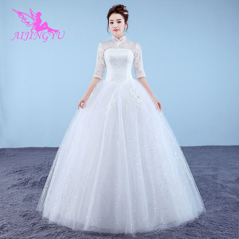 AIJINGYU 2018 princess free shipping new hot selling cheap ball gown lace up back formal bride dresses wedding dress WK834