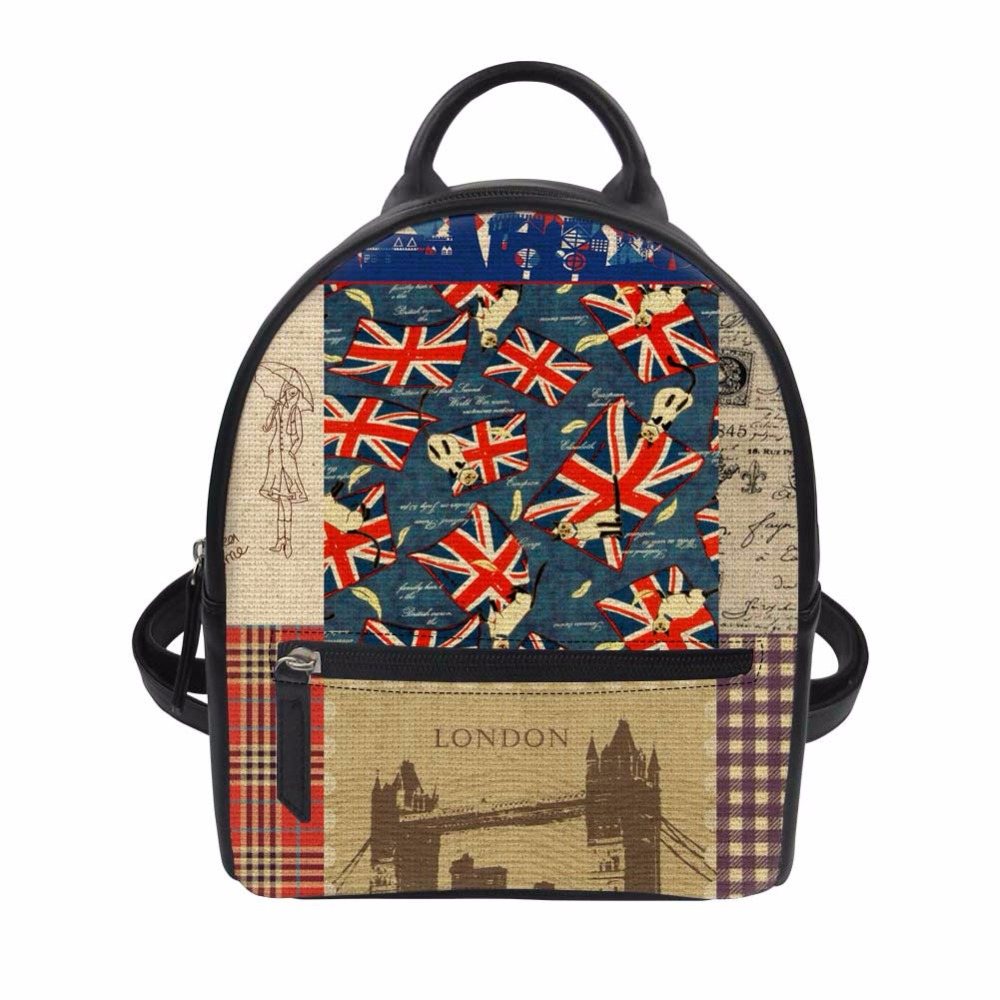 Noisydesigns British style color PU School Bag for Girls Small Zombine Shoulder Book Bags Daily Women Travel Punk Back Packs