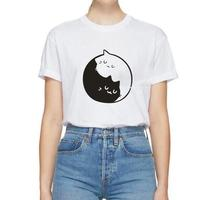 Yin and Cat Pattern Printed T Shirt Women Fashion Plus Size Short Sleeve Cotton Funny Tee Shirt Femme Aesthetic Art Women Tops