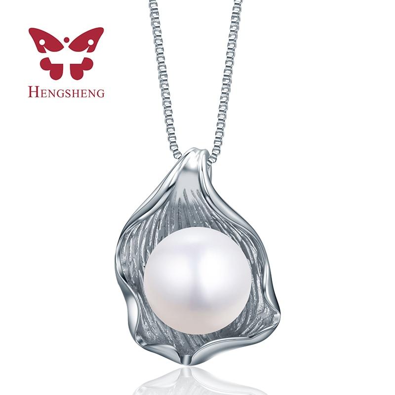 Fashion perhiasan mutiara liontin, kalung wanita elegan dengan besar 10-11mm nyata mutiara air tawar alami liontin 45 cm rantai 2019