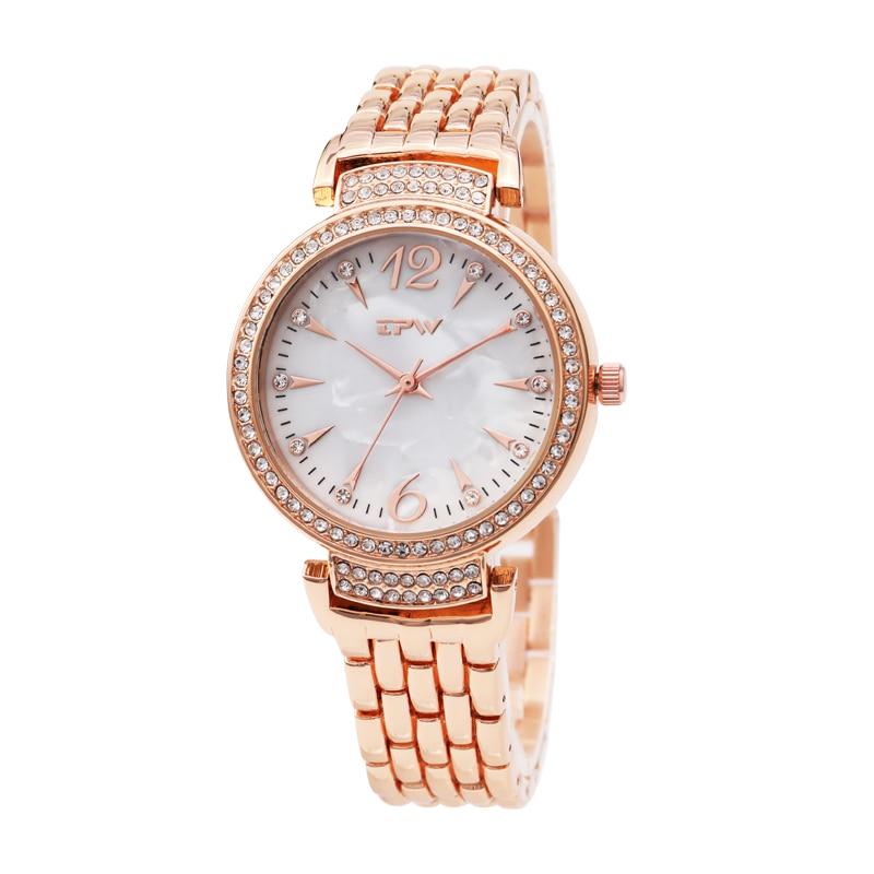 Hot Sale Fashion Stainless Steel Rose Gold & Silver Band Quartz Watch Luxury Women Rhinestone Watches Valentine Gift