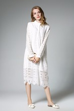 solid color hollow out lace sexy autumn winter o neck maxiwomen office elegant party dress Female