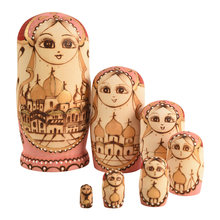 Russian Nesting Dolls Stacking Dolls Cute Handmade Wooden Traditional Russian Girl in Moscow Kremlin Traditional Russian,7 piece(China)