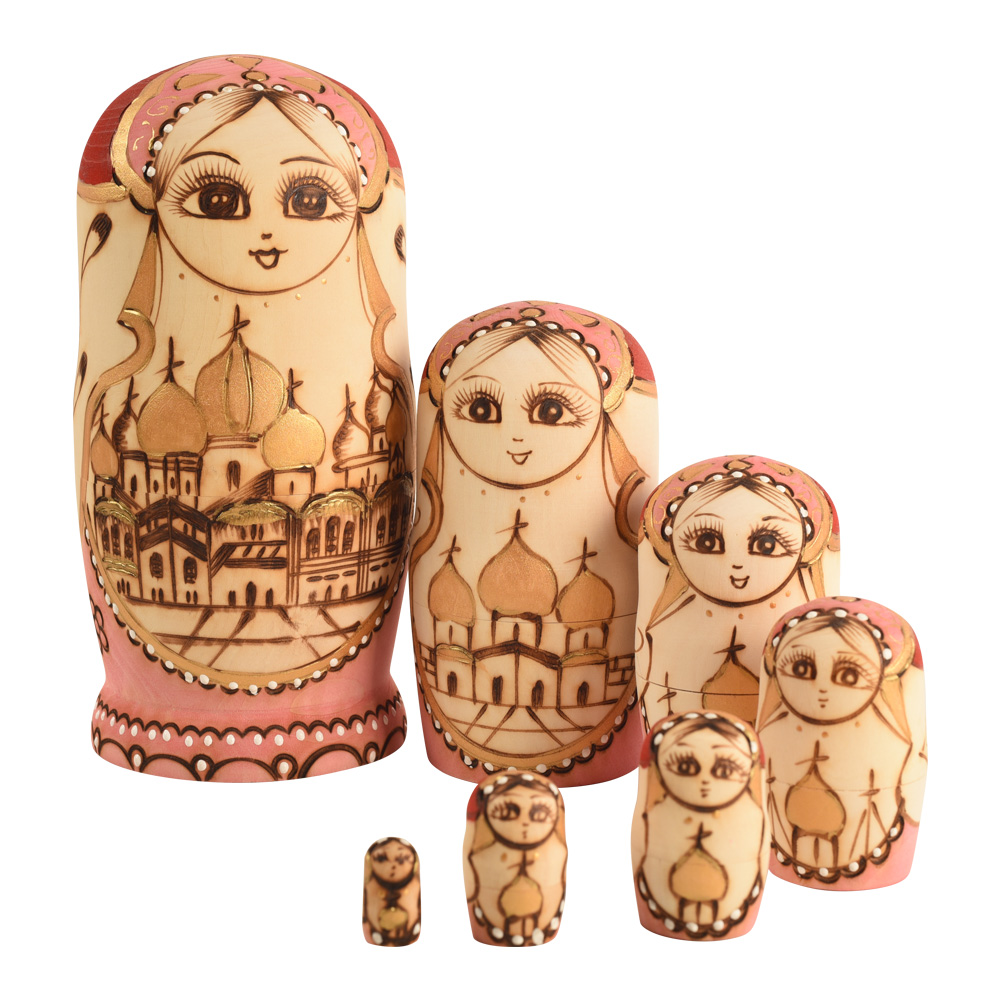 Russian Nesting Dolls Stacking Dolls Cute Handmade Wooden Traditional Russian Girl in Moscow Kremlin Traditional Russian,7 piece sticker doodle russian dolls