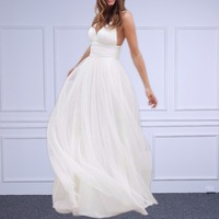Beach Wedding Dresses Spaghetti Straps Pure White Ruched Tulle 2016 Wedding Dresses Simple Style Fairy Bridal