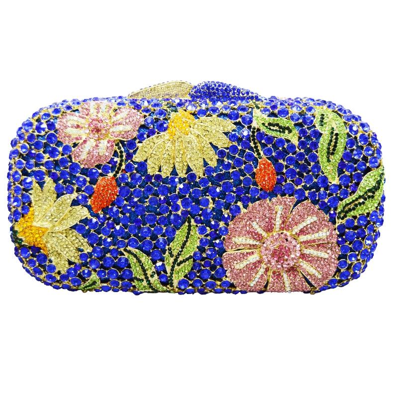 Azul Mujeres bling brillantes bolsos de noche bolsos de embrague de cristal de L