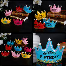 Kids Princess Crown Happy Birthday Flashing Light LED Glow Hats Party Hat Headband Adult Kids Cap Decorations Party(China)