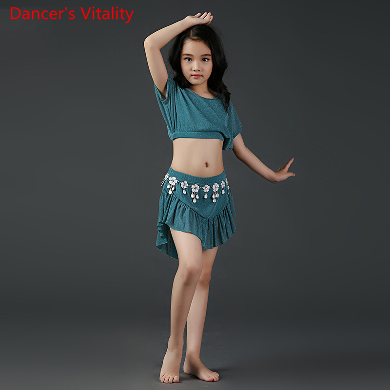 Children Girls Belly Indian Oriental Dance Batwing Sleeves Round Neck Top Skirt Suit Competition Costume Rumba Dancewear Outfits