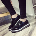 2017 large base platform shoes for women's shoes spring shoes deep mouth lace-up shoes