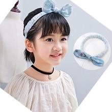 M MISM 1PC Candy Color Cute Baby Girls Headband Fabric Bowknot Elastic Hair Bands Cartoon Pint Hair Band Hair Accessories