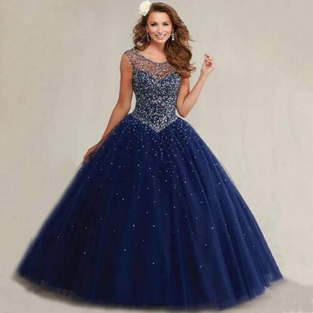 Plus size masquerade vestidos de baile inchados sweet 16 azul marinho vestidos quinceanera 2017 pérolas mangas sparkly cristais de luxo