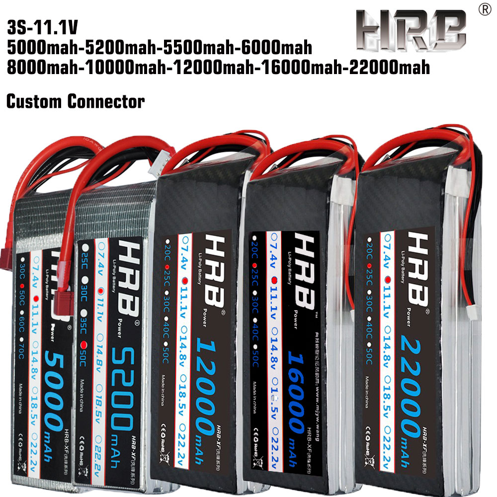 HRB Lipo battery 11 1V 5000mAh 5200mah 6000mah 8000mah 10000mah 12000mah 16000mah 22000mah 50C 3S For