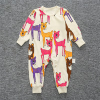 Ins Deer Cotton Newborn Baby Long Sleeve Foot Cover Rompers For 0 24months Baby Pajama Infant