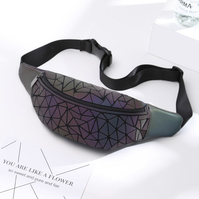2018 Fashion Luminous Waist Bags Women Waist Fanny Packs Belt Bag Luxury Brand Leather Chest Handbag Geometry Waist Packs 3