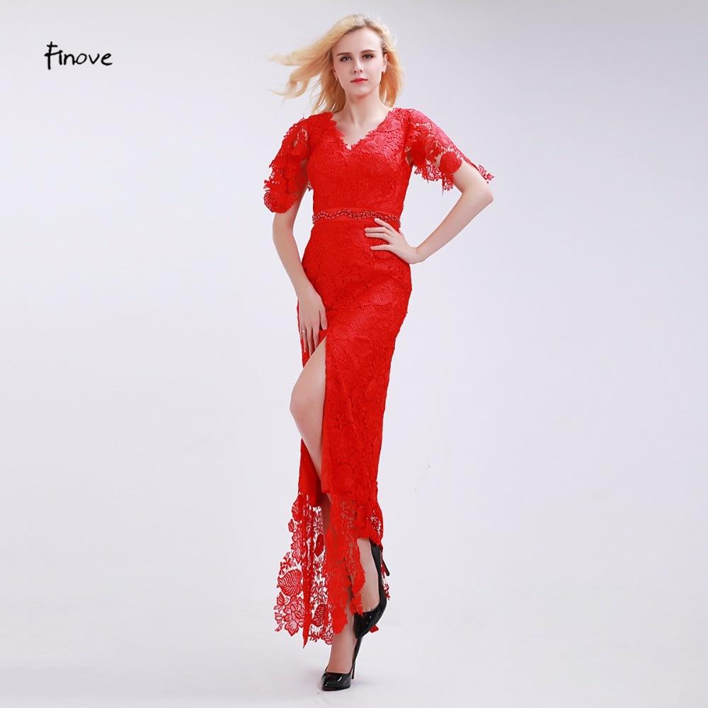 Finove Bright Red Bridesmaid Dresses Elegant Rose Pattern