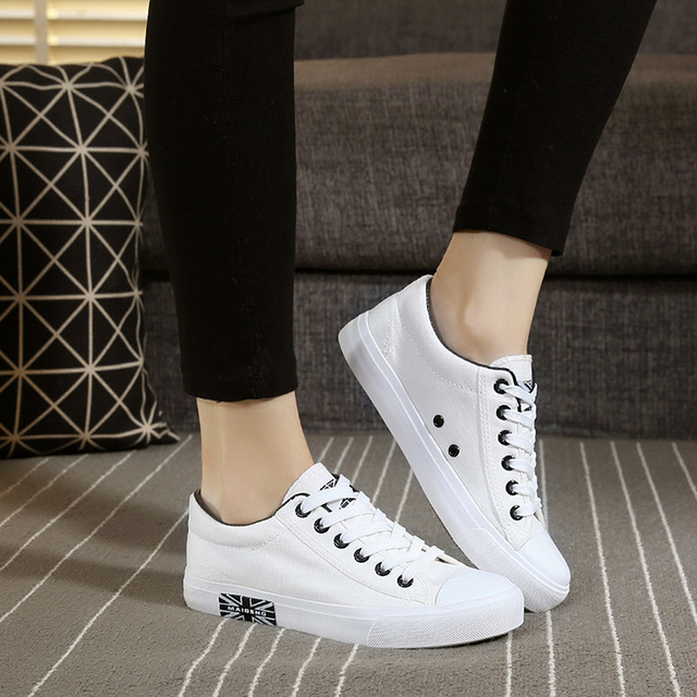spring and autumn women's canvas shoes white shoe Low for classic lace-up before han edition student leisure flat cloth shoes