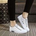 La primavera y el otoño de las mujeres zapatos blancos zapatos de lona Bajos para classic lace-up antes de estudiante la edición de han de ocio zapatos de tela plana