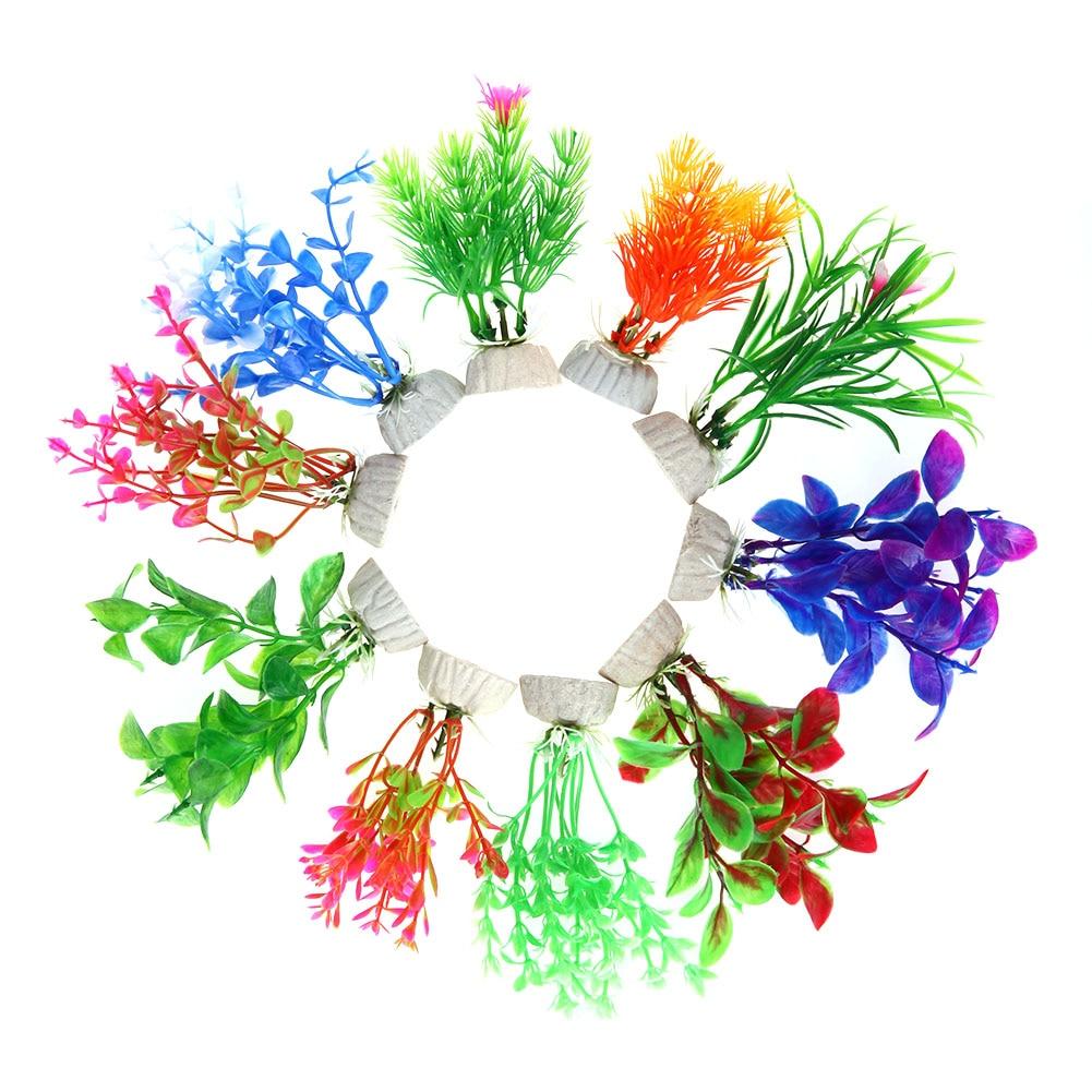 10pcs Colorful Artificial Plant Underwater Ornaments Aquarium ...