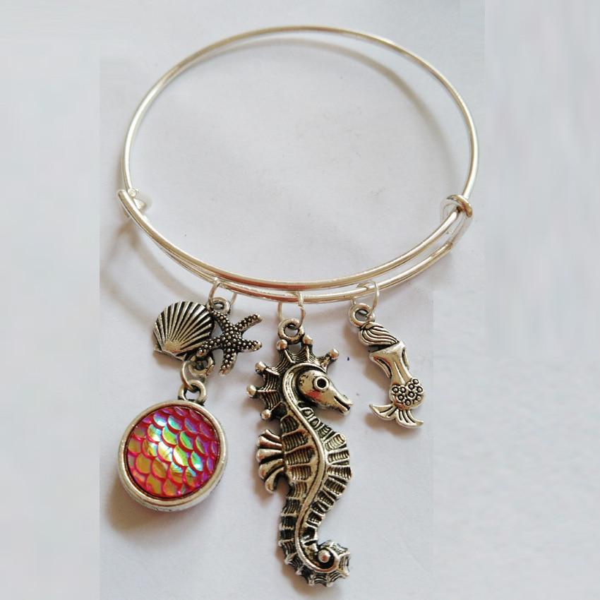 1pc/lot Mermaid bangle sea horse bracelet Shells and starfish bracelets for Mermaid Gifts