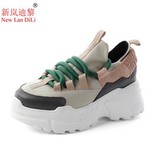 New 2019 Women Platform Wedge Sneakers Breathable Mesh Thick High Heel Autumn Casual Shoes Height Increasing Woman Outdoor Shoes