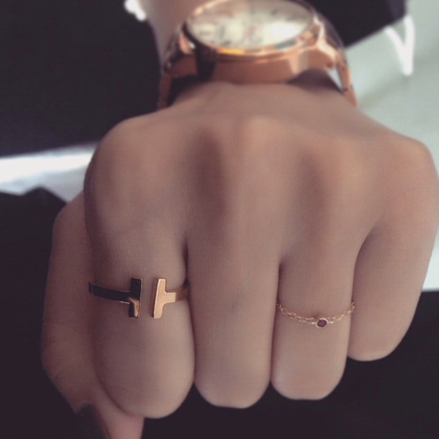 Fashion italina smooth T weapon cuff men ring silver gold color small size rings for men and women jewelry (R972830)