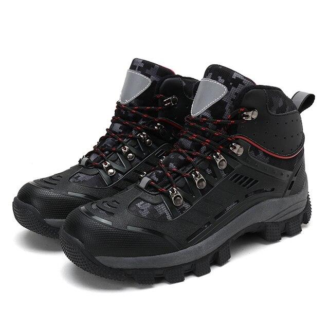 جديد الشتاء حذاء للسير مسافات طويلة الجلود في الهواء الطلق الأحذية الرحلات الدانتيل متابعة تسلق الرجال الصيد أحذية رياضية الرجال الذكور المشي