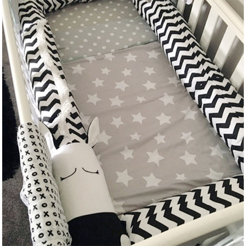 Baby Bed Bumpers Newborn Cotton Sufft Zebra Crib Pad Protection Cot Bumpers Infant Baby Room Decoration Baby Things 2M/3M 6 15pcs lot squqre cot bumpers with crib sheets grey star infant crib bumpers bed protecter