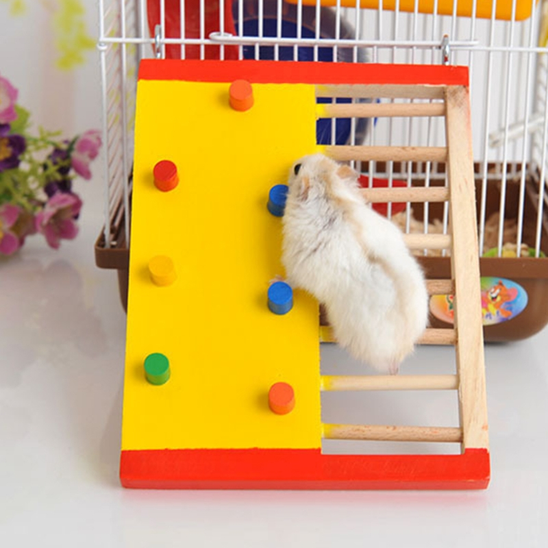 OOTDTY Pet Rat Hamster Toy Natural Wooden Colorful Scaling Jumping Climbing Ladder Fun Play Toy