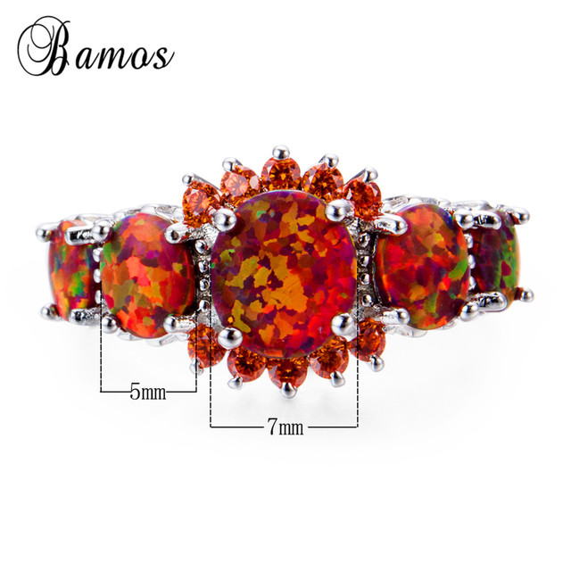 Bamos Brand Fashion Round Orange Fire Opal Ring 100% Real 925 Sterling Silver Jewelry For Lady Christmas Gifts Luxury Rings 1