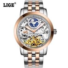Reloj Para Hombre Tourbillon fases de La Luna de Los Hombres Top Marca de Lujo de Buceo Relojes mecánicos Automáticos 50 M Negocio de acero completo Relojes Clcok