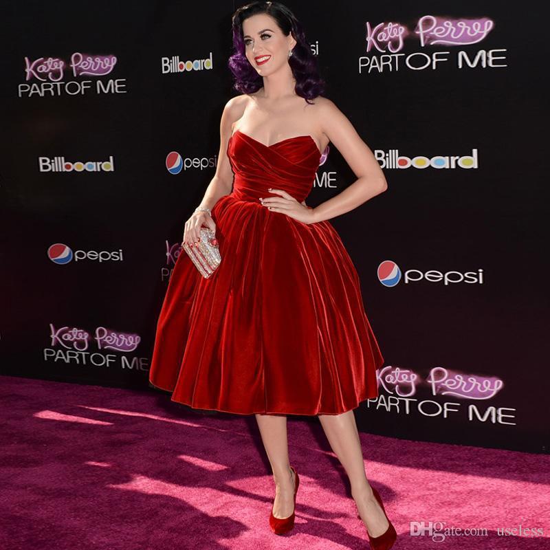 Katy perry fluwelen prom dress rode vintage baljurk celebrity jurken ...