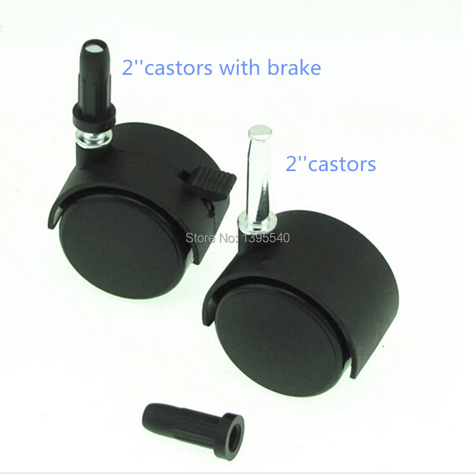 New 2 Durable Nylon Rubber Wheel Castors Furniture Rolling Casors With Brake Children bed Universal Wheel