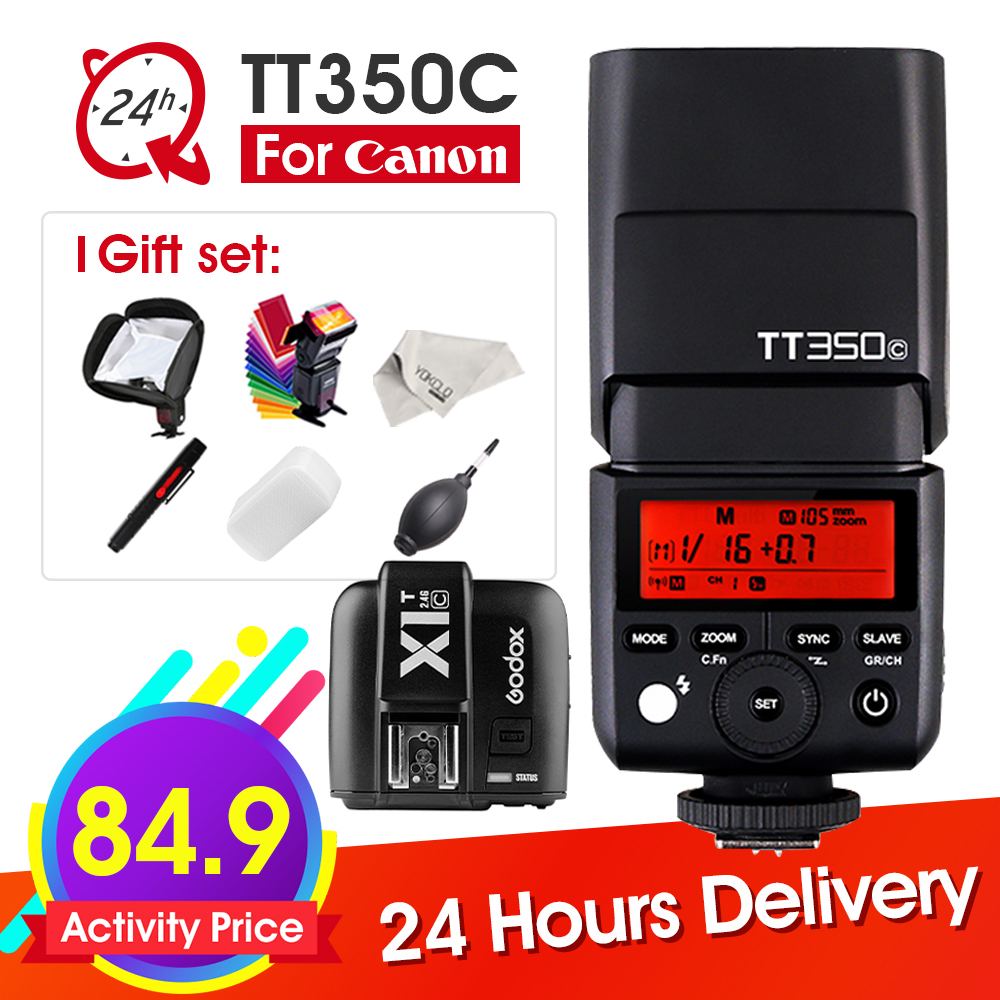 Godox TT350 TT350C Mini Flash TTL HSS 2.4G wireless with X1T-C Transmitter Trigger Wireless Flash for Canon DSLR Camera + Gifts godox x1t s ttl 2 4g wireless trigger for sony 2x xtr 16s flash receiver for v850 v860 c v850ii v860iic v860n v860ii f v850ii