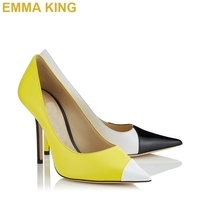 Black White Fluorescent Yellow Summer Pumps PU Leather Pointed Toe Women High Heels Shoes Sexy Ladies 10cm 12cm Stiletto Pumps