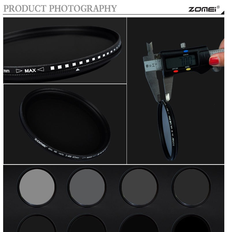 Zomei 49/52/55/58/62/67/72/77/82 Fader Variable ND Filter Adjustable 9-Stops ND2-400 Neutral Density Lens Filter for DSLR Camera 5